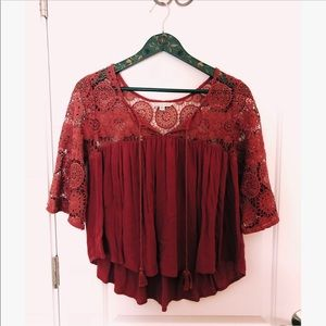 AE Lacey Peasant Top